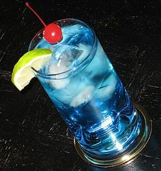 Polar Bear | 1 oz. Vodka  1 oz. Blue Curacao  6 oz. 7-Up  Lime Wedge and Cherry to garnish        Directions     Add the three ingredients to an ice filled Collins glass and gently stir.  Garnish with the Lime and Cherry, and get ready to take a Polar plunge.