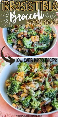 This is the Best Broccoli Bacon Salad ever! Fresh ingredients make this best broccoli salad perfect as a main course or side salad for any meal. It's keto/low carb too! Salad Recipes Gluten Free, Winter Salad Recipes, Healthy Salad Recipes, Keto Recipes, Recipes Dinner, Easy Recipes, Dinner Ideas, Breakfast Recipes, Broccoli Salad Bacon