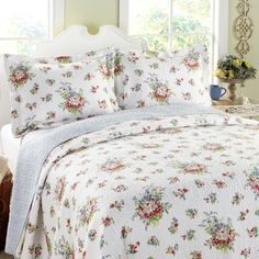 Laura Ashley Roseland Floral 3-Piece Cotton Reversible Quilt Set, Twin by Laura Ashley, http://www.amazon.com/dp/B00DVHHHW8/ref=cm_sw_r_pi_dp_3ADasb1DHV5DX