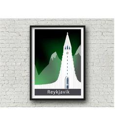 Reykjavik Hallgrímskirkja Art Print Iceland design by NettyandDi