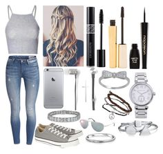 """""""Untitled #93"""" by stylemaven-294 ❤ liked on Polyvore featuring Glamorous, Converse, Master & Dynamic, Stila, Napoleon Perdis, MICHAEL Michael Kors, Topshop, Bling Jewelry and Tom Ford"""