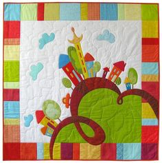 (7) Name: 'Quilting : Pattern of baby quilt 'Happy houses'