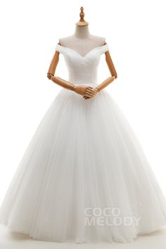 Impressive+A-Line+Off+The+Shoulder+Natural+Floor+Length+Tulle+Ivory+Sleeveless+Lace+Up-Corset+Wedding+Dress+Pleating+JWLF16001
