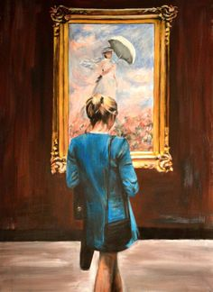 Buy Watching Monet, a Acrylic on Canvas by Escha Van Den Bogerd from Netherlands. It portrays: People, relevant to: woman, monet, classical, figurative, figure, gold frame, museum Lady watching a painting of Monet at museum in paris.