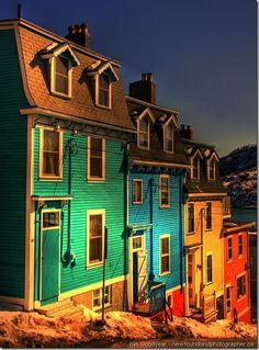 Jellybean Row in Newfoundland Labrador ~ Flown over but never actually been. On my bucket list. Newfoundland Canada, Newfoundland And Labrador, O Canada, Canada Travel, The Places Youll Go, Places To See, Gros Morne, Future Photos, Take Better Photos