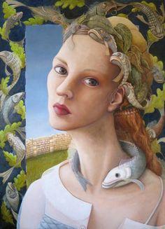 """Saatchi Art Artist Anja Jager; Painting, """"Fish queen"""" #art"""
