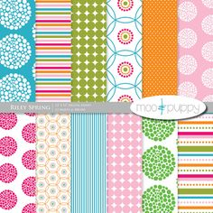 Riley Spring digital paper by Moo and Puppy