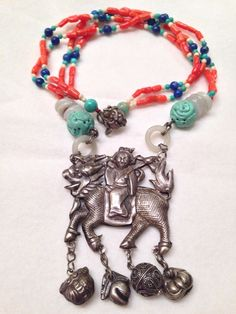 Antique Chinese Silver Laojun Supreme God Coral Turquoise Jade Lapis Necklace | Jewelry & Watches, Vintage & Antique Jewelry, Vintage Ethnic/Regional/Tribal | eBay!