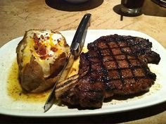 Longhorn Rib Eyes Steaks | LongHorn Steakhouse - Outlaw Ribeye with a Loaded Baked Potato (And ...