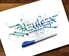 This awesome greeting for my loving friend @azulezx feeling happy💯🎉🎉💐✍  #lalitmourya207 #calligraphymasters #calligraphy #calligraffiti #goodtype #thedailytype #typegang #typographyinspired #handtype #gothic #gothiccalligraphy #pillotparallelpen #parallelpen
