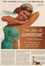 Original Vintage Magazine Advert Nina Shipman endorses Coppertone Suntan Lotion