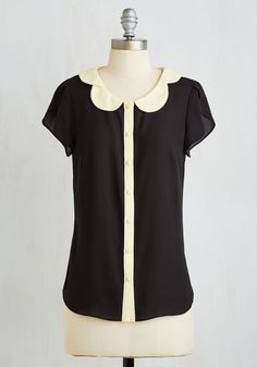 Teacher's Petal Top in Black. Go for the gold star when you button up this beautiful black blouse! #black #modcloth
