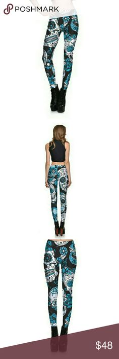 💋Skull Print Yoga Leggings - Blue! Beauty... and the BEAST... in these leggings!  Namaste! Pants Leggings