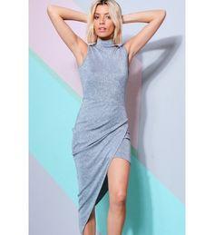 49a20729782 Lovemystyle Silver Metallic Turtle Neck Dress With Wrap Skirt Knit Dress