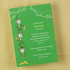 Hanging Monkeys - Birthday Invitation - Bright White ~available through www.JaniceBlackmonEvents.carlsoncraft.com