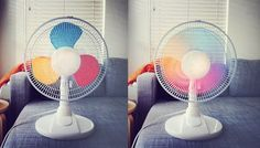 painting primary colours on the wings of a fan will bring about a rainbow whirl