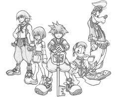 kingdom hearts coloring pages | Home > Kingdom Hearts > Kingdom Hearts Goofy Characters