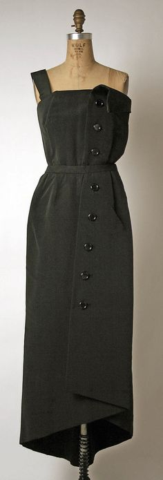 """Evening Dress, Christian Dior (French, 1905–1957) for the House of Dior (French, founded 1947): 1945-55, French, silk.    Marking: [label] """"Christian Dior, Paris"""""""