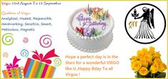 """Wishing a Joyful and Lovely Birthday to all ViRGOS""  Delight Birthdays of people who are born for VIRGO zodiac sign (between 23rd August – 23rd September) by sending Gifts, Flowers, Cakes with our wide range of collections.  Visit: http://pune-giftsflowers.com/"