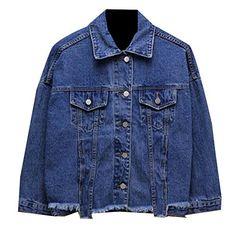 b968e590a4e xiaokong Womens Button Fashion Pocket Wild Long Sleeve Denim Jacket Coat  Dark Blue S Denim Jackets