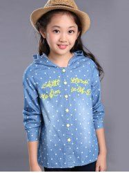 SHARE & Get it FREE | Long Sleeve Hooded Letter Pattern Polka Dot ShirtFor…
