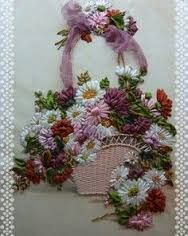 Wonderful Ribbon Embroidery Flowers by Hand Ideas. Enchanting Ribbon Embroidery Flowers by Hand Ideas. Learn Embroidery, Silk Ribbon Embroidery, Embroidery Applique, Embroidery Stitches, Embroidery Patterns, Ribbon Art, Ribbon Crafts, Flower Crafts, Ribbon Flower