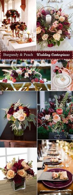 stylish burgundy and peach wedding reception decoration ideas