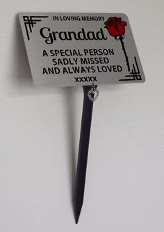 Grandad Memorial Plaque Brushed Silver. With Heart Charm, Garden, Grave Marker