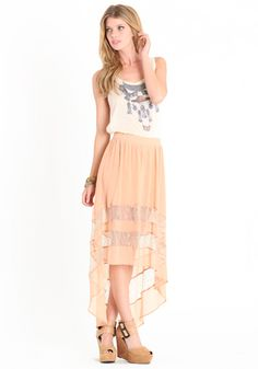 Finished in dusty pink, this semi-sheer chiffon skirt features a hi-low hem, sheer lace panels, and a hidden side zipper closure.