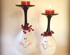 Snowman hand painted wine glass tea light holders, set of two. by angelwoodgifts on Etsy Wine Glass Candle Holder, Glass Tea Light Holders, Diy Candle Holders, Christmas Candle Decorations, Christmas Ornaments, Etsy Christmas, Christmas Candles, Christmas Projects, Holiday Crafts