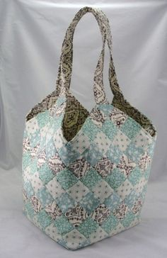 Large handmade patchwork quilted tote bag by TheCraftMenagerie