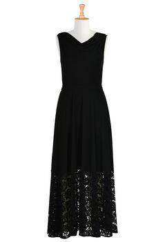 Floral Lace Hem Jersey Knit Dresses, Polyester Rayon Stretch Jersey Knit Dresses  CL0035104 | eShakti