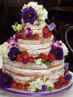 Victoria sponge wedding cake with fresh flowers and fruit by Bath Baby Cakes, via Flickr....can you make this in a size that will serve 300. Love it.