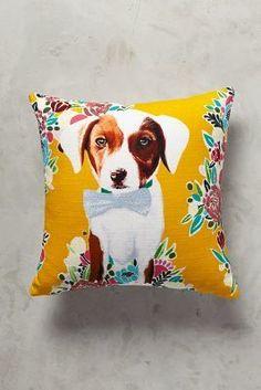 Anthropologie Flower Pup Pillow