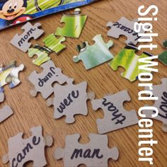 Puzzle Sight Word Center - I knew there was a way to use these puzzles! This will also be great for math facts and Spanish words for my immersion kiddos.