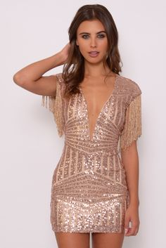 Rose Gold Sequin and Fringe Mini Dress | Rare London