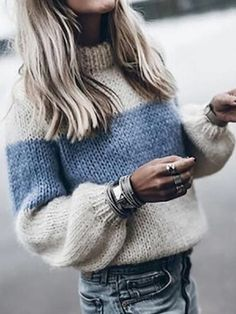 Winter Knitted Sweater Women Fashion Color Block Striped Jumper Pullover Autumn Long Sleeve Streetwear Sweaters Female Plus Size Fluffy Sweater, Mohair Sweater, Pullover Sweaters, Knitting Sweaters, Women's Sweaters, Cardigans, Striped Sweaters, Knit Sweater Outfit, Oversized Sweaters