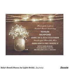 mason jars lights rustic wood lace bridal shower card | rustic, Baby shower invitations
