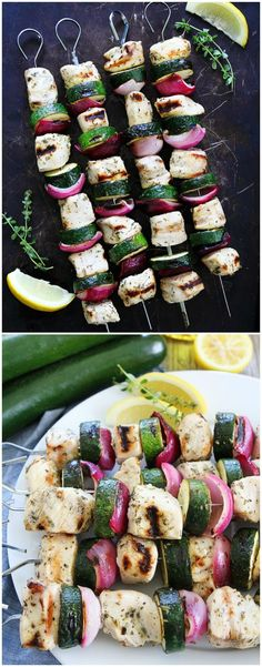 Grilled Chicken and Zucchini Kebabs Recipe on http://twopeasandtheirpod.com. These easy chicken kebabs are the perfect summer meal! The lemon herb marinade is amazing and so easy to make!