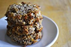 Grain free Banana Coconut Cookies -also dairy-free, egg-free, sugar-free, but full of deliciousness! Your kids are going to love this easy, healthy snack! Gluten Free Treats, Dairy Free Recipes, Real Food Recipes, Baking Recipes, Yummy Food, Paleo Dessert, Healthy Baking, Vegan Desserts, Healthy Desserts