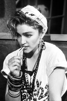 80s Madonna rocking stacked bracelets & necklaces