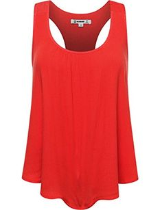 THENEWNEW Womens Sleeveless Gauze Blouse With Tulip Detail Back B RED MEDIUM -- Click on the image for additional details.(This is an Amazon affiliate link)