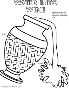 Water To Wine Puzzle (Activity Sheet) Activity sheets are a great way to end a Sunday School lesson. Bible Object Lessons, Bible Lessons For Kids, Bible For Kids, Sunday School Activities, Sunday School Lessons, Sunday School Crafts, Preschool Bible, Bible Activities, Bible Story Crafts