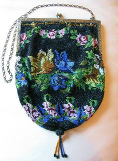 Antique Victorian-Edwardian Art Nouveau Black Floral Micro Bead Reticule Purse
