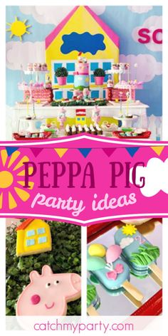 Violeta Glace 's Birthday / Peppa Pig - Peppa Pig & Family! at Catch My Party Girls Birthday Party Themes, Pig Birthday, Birthday Parties, Birthday Ideas, Peppa Pig Family, Pig Party, Party Plates, Party Activities, Party Favors
