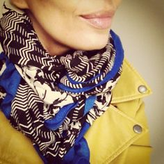 Kisha Brown-Richards, Independent Stylist for Stella & Dot sports her Stella & Dot Midnight Bloom Scarf over a chartreuse leather jacket