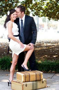 What to Wear for engagement photos! READ vintage luggage--introduces theme of reception