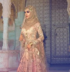 HW Hijab School - Student Portfolio Student Make up by the talented Outfit by Jewellery… Hijabi Wedding, Wedding Hijab Styles, Fancy Wedding Dresses, Asian Wedding Dress, Hijab Wedding Dresses, Bridal Outfits, Bridal Hijab, Hijab Bride, Pakistani Bridal Wear