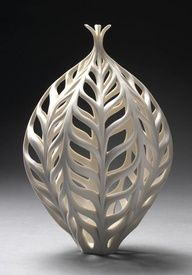 wheel thrown pottery ideas | Jennifer McCurdy | 'Wheat Bottle' Wheel-thrown, altered, carved ...