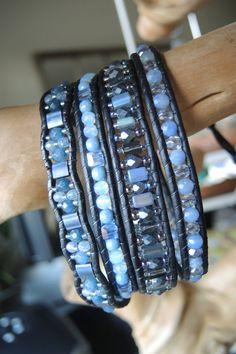 COOL BLUE Opal & AQUAMARINE 4 Wrap Leather Bracelet with Blue Agate, Miyuki Tila and Delicas, Czech Fire Polished, Swarvoski Crystal Cubes